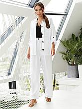Льняной костюм из жакета и брюк-клеш  ЛЕТО