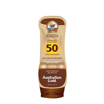 Солнцезащитный крем SPF 50 с бронзаторами Australian Gold Sunscreen Lotion with Kona Coffee Bronzer 237 мл