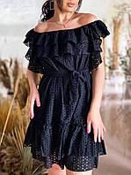 Эко платье с поясом и воланами батал, фото 1