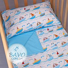 Детское постельное белье в кроватку для новорожденных, комплект в детскую кроватку для новорожденных Кораблики