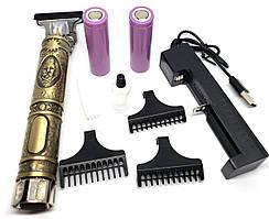 Профессиональная машинка триммер для стрижки волос km-009 3 насадки USB 2 аккумулятора металлический корпус
