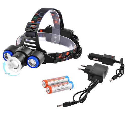 Налобный фонарь XQ-117-T6+2XPE, ЗУ 220V/12V, 2х18650, zoom