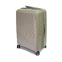 Стильна пластикова валіза на 4 колесах 118 л Snowball Robust 04303 бежева, фото 1