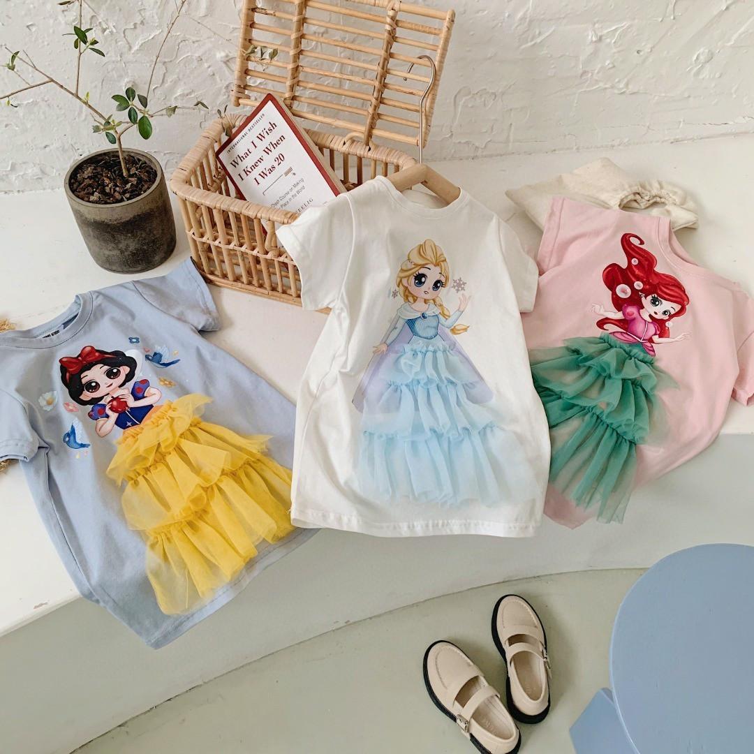 Платье-футболка летнее на девочку  4-6 лет голубое Белоснежка