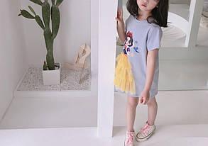 Платье-футболка летнее на девочку  4-6 лет голубое Белоснежка, фото 2