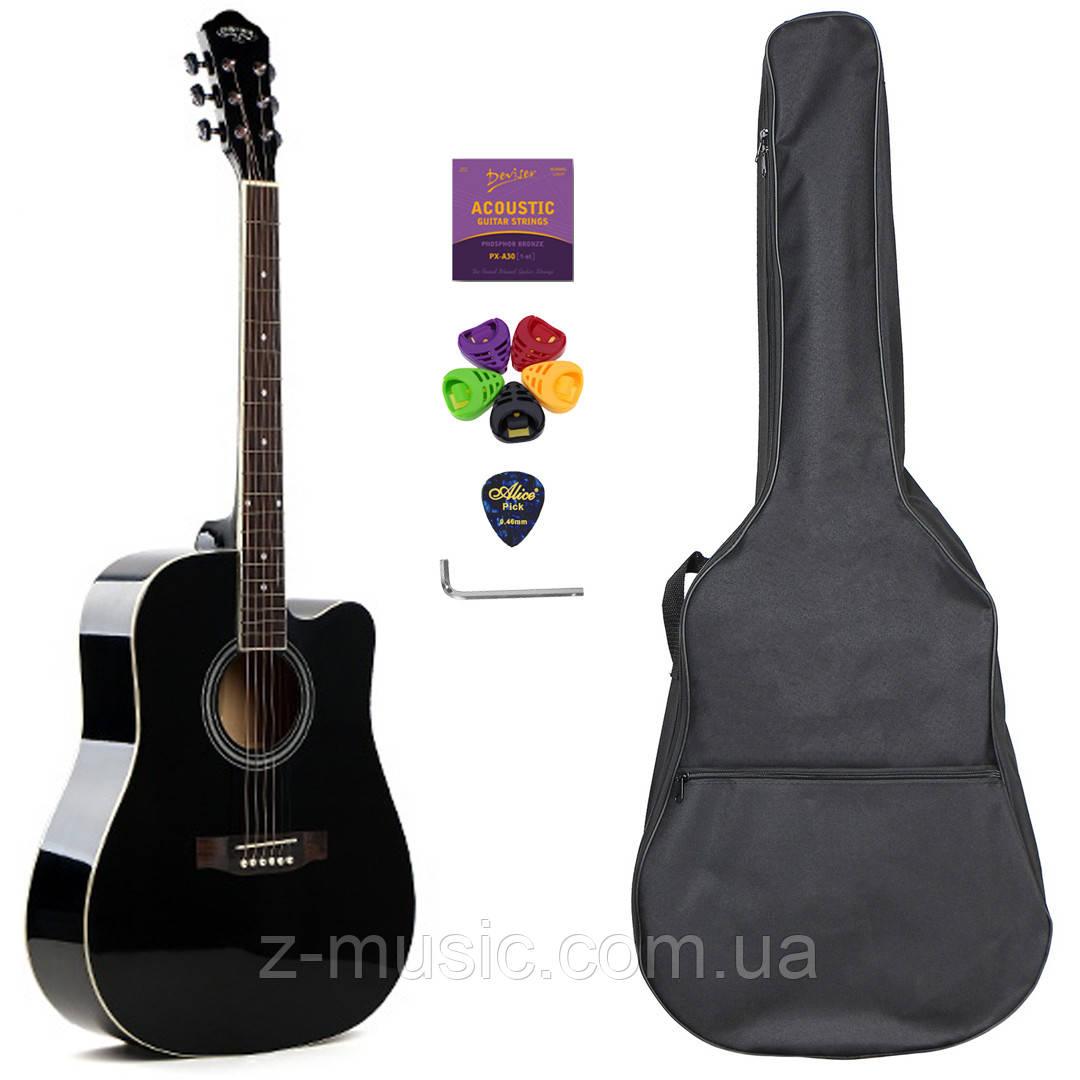 Гитара акустическая Caravan Music HS-4111 BK (чехол, копилка, медиатор, струна, ключ)