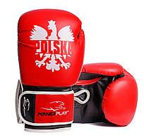 Боксерські рукавички PowerPlay 3021-1 Poland червоно-чорні 10 унцій