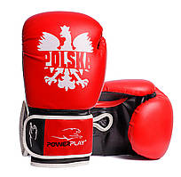 Боксерські рукавички PowerPlay 3021-1 Poland червоно-чорні 14 унцій