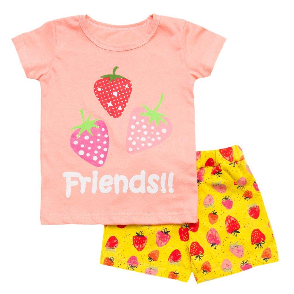 Летний комплект для девочки футболка и шорты