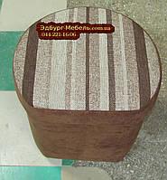 Полукруглый пуф c ящиком велюр + рогожка, фото 1