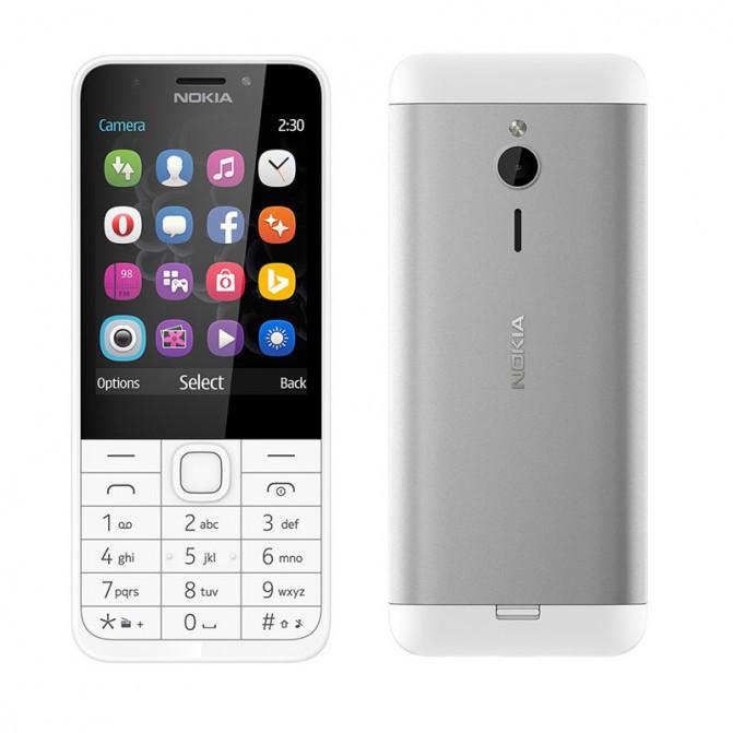 Мобільний телефон Nokia 230 White Dual Sim (A00026972), 2.8 (320х240) TN / MediaTek 6260C / ОЗУ 16 МБ / 128 МБ