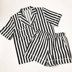 Хлопковая пижама, шорты + рубашка, размер 44 (М)