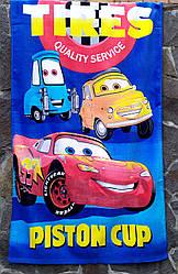 """Детское полотенце банное махровое 70х140 """"Тачки"""", коврик для пляжа синее хлопок 100%"""