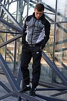 Комплект мужской Ветровка + Штаны Nike серо-черный | Спортивный костюм мужской весенний осенний ЛЮКС качества