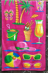 """Коврик полотенце детское банное махровое 70х140 """"Коктейль"""" для пляжа розовое хлопок 100%"""