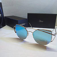 Очки женские брендовые солнцезащитные Dior цвет голубой, фото 1