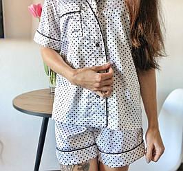 Атласная пижама, шорты + рубашка, размер 42/S