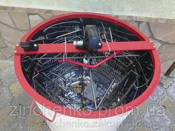 Медогонка 4-х рамочная поворотная, кассеты, бак -нержавейка, редуктор, кран-алюмин