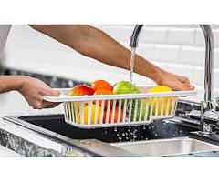Сушка-мийка для овочів і фруктів Dunya Plastik 16,6*47,5*93 см, пластикова (біла)