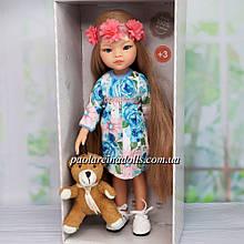 Лялька Паола Рейна Маніка в кольоровій сукні Paola Reіna з ведмедиком