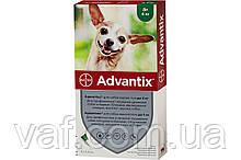 Капли на холку от блох, клещей, комаров для собак Адвантикс (Advantix) весом до 4 кг