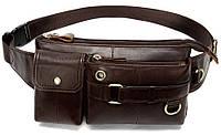 Поясная cумка мужская Vintage 14897 Коричневая, фото 1