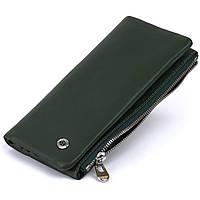 Вертикальный кошелек на кнопке унисекс ST Leather 19207 Зеленый, фото 1
