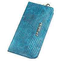 Кошелек женский кожаный с тиснением Guxilai 18966 Синий, фото 1