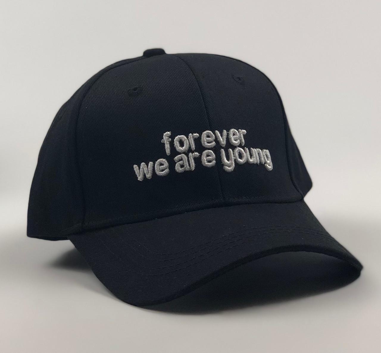 Кепка Бейсболка Мужская Женская City-A с надписью Forever we are young Черная