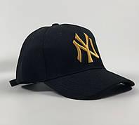 Кепка Бейсболка Чоловіча Жіноча New Era New York Yankees NY Чорна з Золотим лого, фото 1