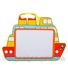 Детская деревянная магнитная Досточка для рисования маркером MD 2085 (Кораблик)