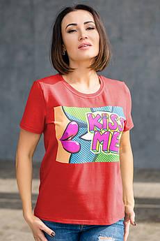 Красная футболка с термопечать Kiss