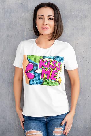 Белая футболка с термопечать Kiss