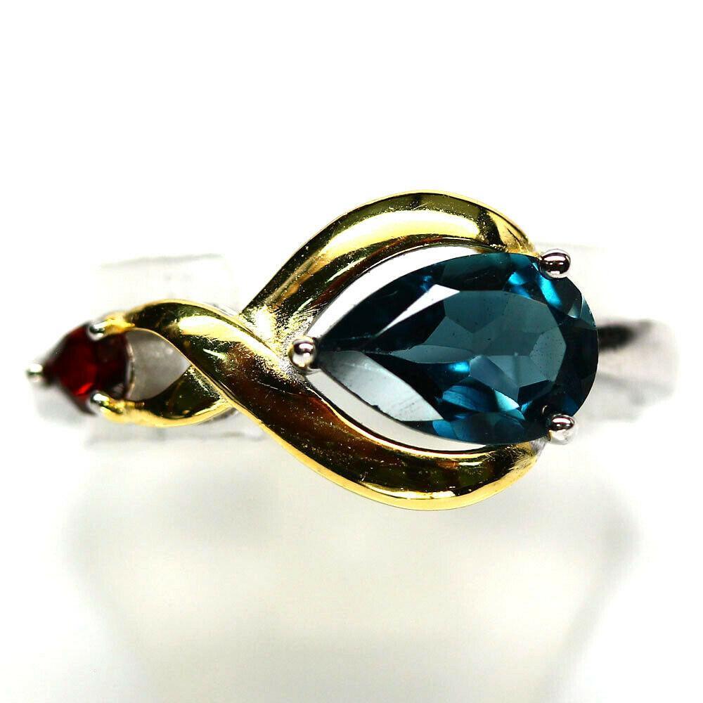 Серебряное кольцо с топазом голубым, 1726КТ
