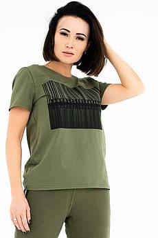Стильная летня футболка Штрихкод хаки