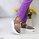 Женские босоножки кофейные / коричневые / капучино натуральная замша, фото 2