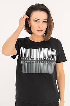 Черная футболка с принтом Штрихкод