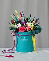 Букет «Сансара» в шляпной коробці з стабілізованих квітів