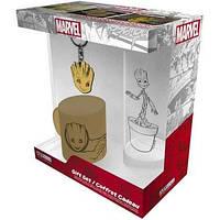 Подарунковий набір MARVEL Groot склянка, брелок, міні чашка