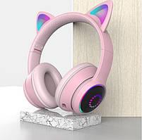 Беспроводные детские наушники Cat Ears K26 LED (Розовый)