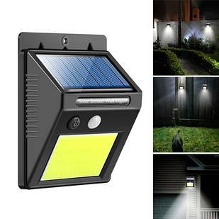 Уличный LED фонарь светильник на солнечной батарее, 48 COB, настенный