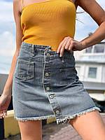 """Спідниця жіноча джинсова на гудзиках, розміри S-L (синій) """"MILANA"""" купити недорого від прямого постачальника"""