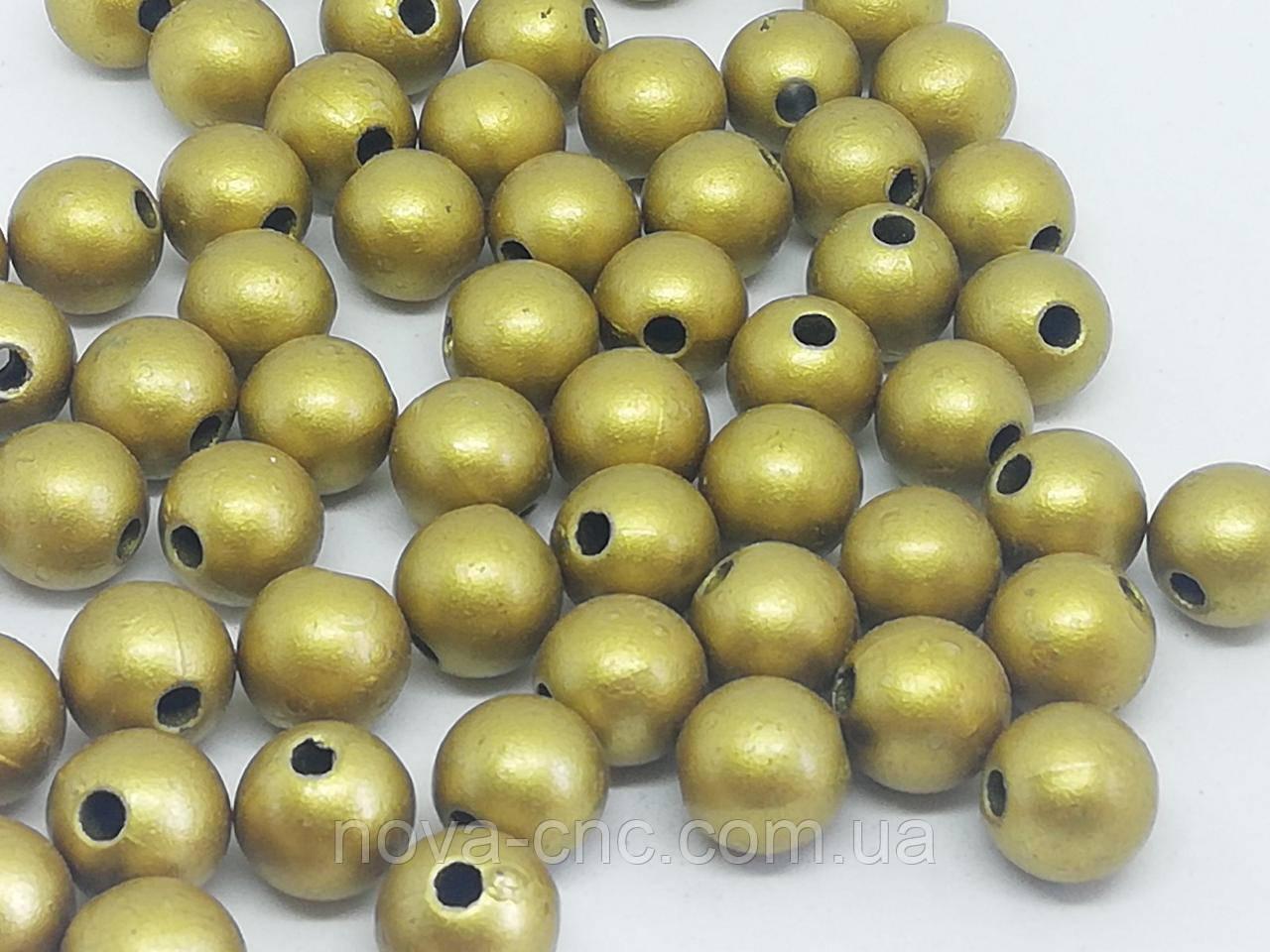 "Намистини пластик ""Куля гладкий"" золото 6 мм 500 грам"