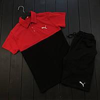 Комплект шорты+футболка Пума черно-красный