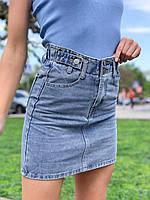 """Спідниця жіноча джинсова на блискавці, розмір S-L (синій) """"MILANA"""" купити недорого від прямого постачальника"""