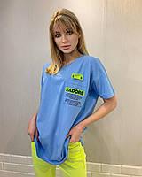 Турецкая женская трикотажная летняя голубая футболка с карманом, 7877, фото 1