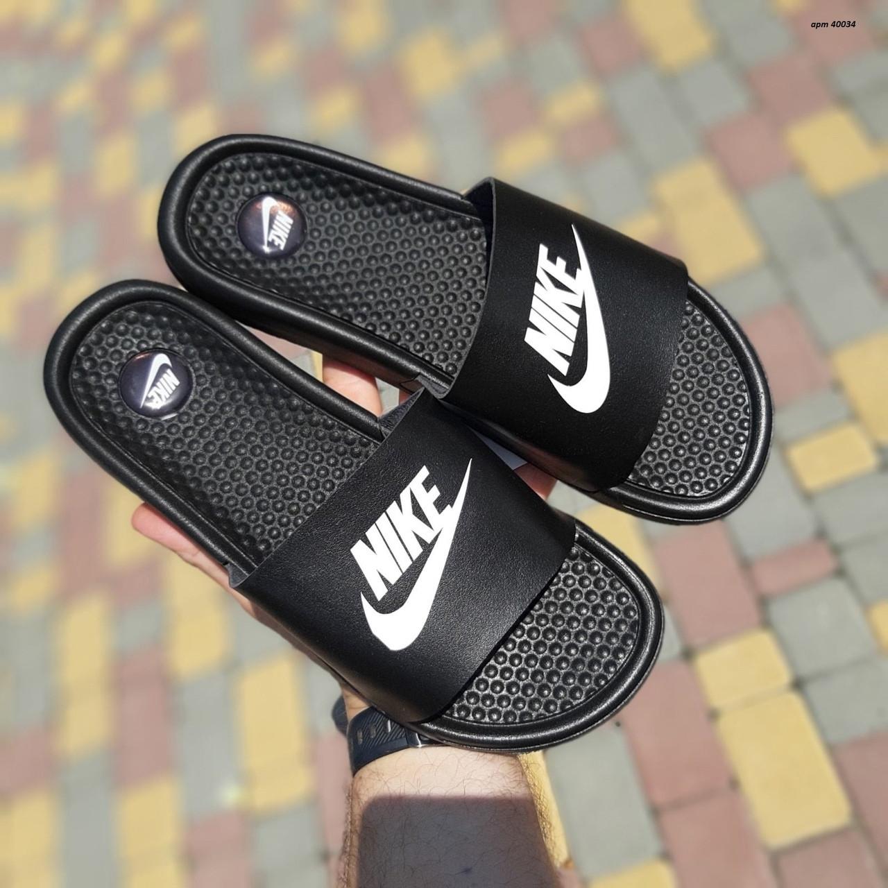 Nike чоловічі літні шкіряні чорні шльопанці. Літні чоловічі шкіряні шльопанці