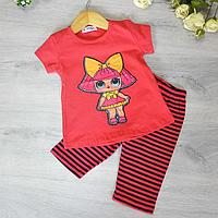 Летний костюм (футболка и бриджи), трикотаж, для девочек 1-4 лет (4 ед в уп)