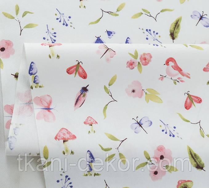 Сатин (бавовняна тканина) синички, метелики, квіти рожеві
