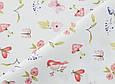 Сатин (бавовняна тканина) синички, метелики, квіти рожеві, фото 3